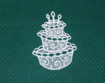 Lace Applique for Crafts or Crazy Quilt - Birthday Cake