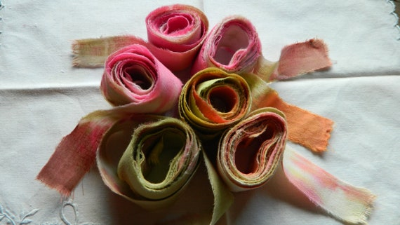 Muslin ribbons -  Shabby Chic - Water colored flowers in summer -  6 yards   - 1 inch  and 1/2 inch wide