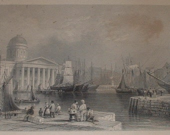antique framed etching of Liverpool England