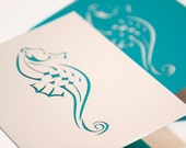 Seahorse Note Card Set of Four in Recycled Cut Paper