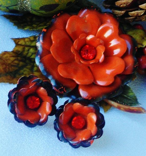 Orange and Black Fall Jewelry Set Enamel Rhinestone Flower