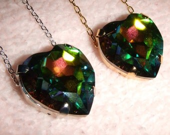 Rainbow of Light - Swarovski Vitrail Crystal Heart Necklace in Gold or Silver Setting