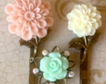 Flower Bobby Pins, Hair Accessories, Pink, Cream, Mint Green, Swarovski Crystal Bobby Pins, Wedding Hair