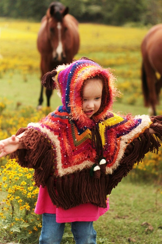 Crochet Owl Poncho - 2 Year Old to Adult Sizes - Fringe Fall Poncho - Made to Order - Hooded Owl Costume