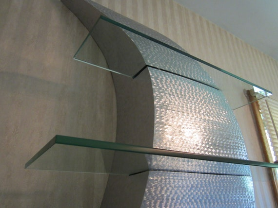 Metal wall art curves decor stainless steel shelf for Stainless steel wall art
