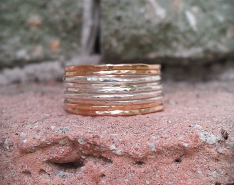 MOTHER'S DAY: Hammered Stackable Rings- Mixed metals- Set of 9 hammered rings in sterling silver and 14k gold filled