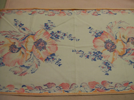 Vintage Kitchen Towel Cotton Floral Poppies in Peach Purple and Pink 100% Cottn Circa 1950s Towel