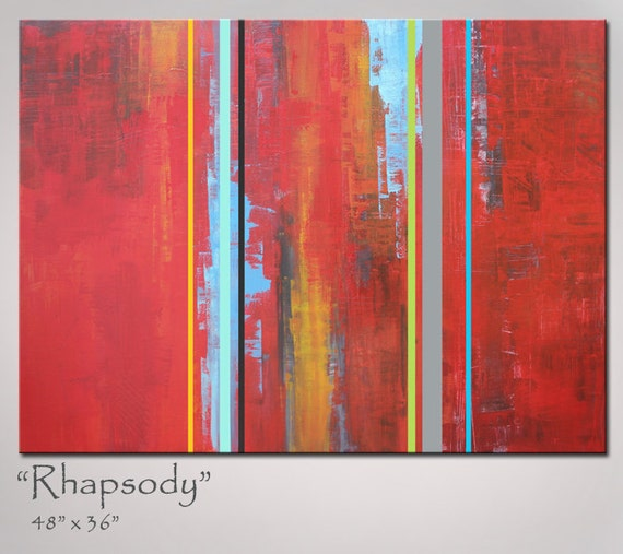 Abstract Art Abstract Painting, Red Art Orange Turquoise Art, 48x36, Shipping included w/in Cont US, Original Abstract Art