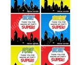 Superhero Party Favor Tags, Superhero Party Favors - Personalized DIY Printable
