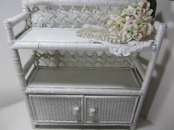 White Heavy Wicker 3 Tier Shelf With Double Doors Wall Hanging
