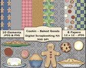 Cookin - Baked Goods Digital Scrapbooking Kit - Kitchen Background Papers & Elements / Clipart
