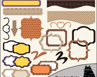 Halloween and Fall Digital Elements, Halloween Clipart, Fall Clipart, Frames, Labels, Tags for Digital Scrapbooking & Card Making