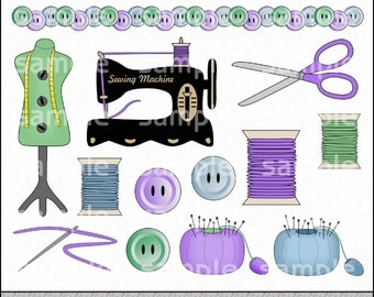 Sewing Studio Clipart and Graphic Set, Sewing Clipart, Crafting Clipart - Digital Scrapbooking Kit