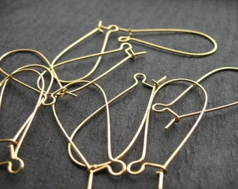 40 pairs Gold Kidney Ear Wires 38mm Nickel Free
