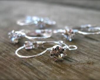 10 pairs Rhinestone Leverback Earrings Silver Plated Closed Loop 24mm
