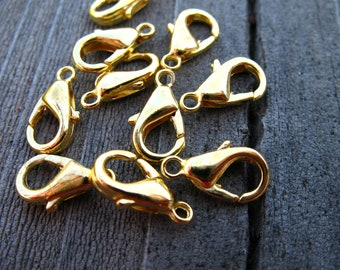 40 Gold Plated Lobster Clasps 12mm