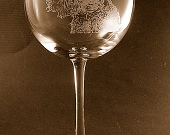 Etched Welsh Terrier on Elegant Wine Glass (set of 2)