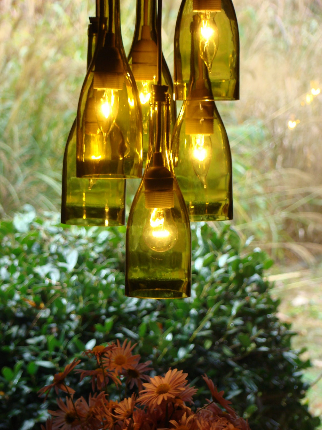 wine bottle chandelier by glow828 on etsy