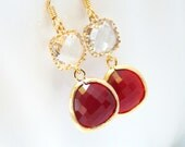 Glass Earrings, Red Earrings, Gold Burgundy, Wine, Clear, Crystal, Wedding, Bridesmaid Earrings, Bridal Earrings Jewelry, Bridesmaid Gifts