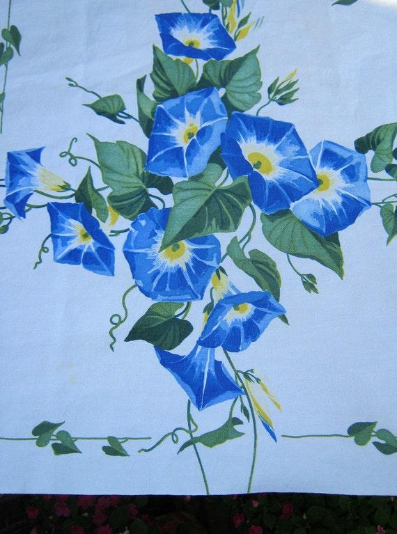 Vintage Wilendur Tablecloth Heavenly Blue Morning Glory Table Linens Retro