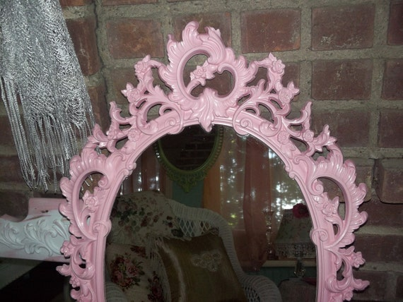 Vintage decorative boudoir baroque baby girl, PINK Nursery, Shabby cottage chic decor ornate decorative wall mirror