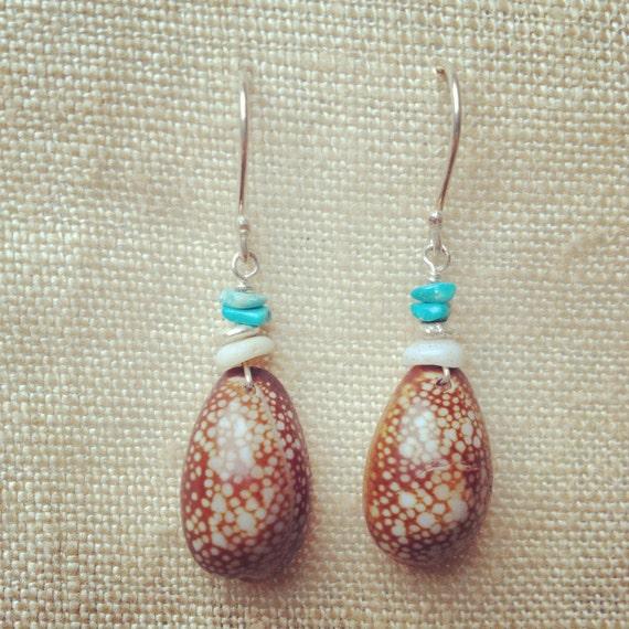 Big Island Cowry & Puka Shell Earrings w/ Turquoise