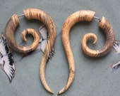 Fake Gauge Earrings - TALEEYA - Hand Carved Natural Tamarind Wood - Tribal Style Jewelry