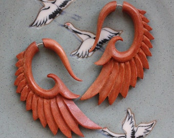 BRAVE Wing Earrings - Natural Saba Wood - Hand Carved Organic Fake Gauges
