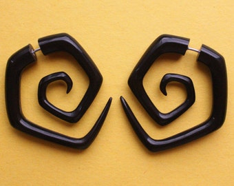 CYCLONE - Black Horn Earrings - Hand Carved Spirals - Tribal Fake Gauges
