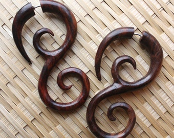 SAIPAN - Fake Gauge Earrings - Natural Brown Sono Wood - Hand Carved Swirl Drop Earrings
