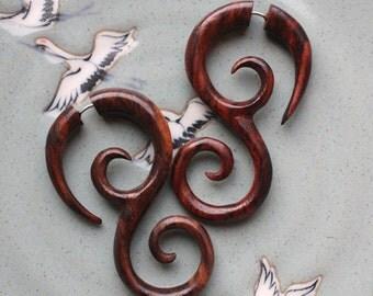 Hand Carved Swirl Drop Earrings - Fake Gauge Earrings - SAIPAN - Natural Brown Sono Wood