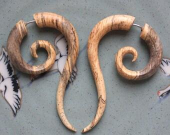 Fake Gauge Earrings - TALEEYA - Hand Carved Natural Tamarind Wood - Tribal Style Jewelry