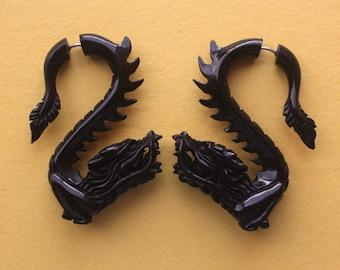 Fake Gauge LEGEND Earrings - Handcarved Dragons - Organic Black Horn