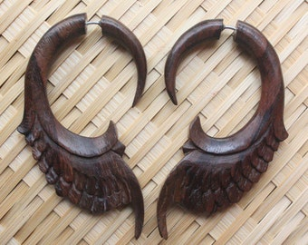 DHARMA - Fake Gauge Earrings - Hand Carved Natural Sono Wood - Tribal Style Jewelry