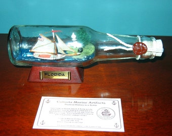 """7"""" Long Ship in a Bottle  Sloop FOX FLORIDA New OLD Stock from Art Store 90s"""