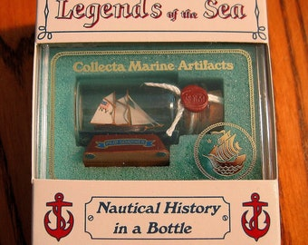 Mini Ship in a Bottle NEW YORK Pilot Schooner No. 4  New OLD Stock from Art Store 90s