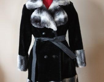 Vintage 1960's black fur snow bunny coat