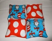 The Cat in the Hat Dr. Seuss Bean Bags - Party Game - Party Favor - Xtra Sturdy Double Bagged - Red and Turquoise - Ships Priority