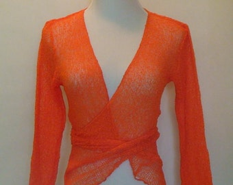 Knitted Bolero Jacket - Orange with Ties