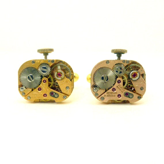 Steampunk Watch Cuff Link, Antique Cufflinks from Watch Movements
