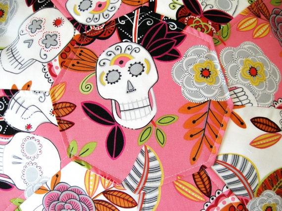 CUSTOM LISTING for LAUREN, Large Pouf/Ottoman, made from  Alexander Henry's Folklorico Jardin De Los Muertos Fabric