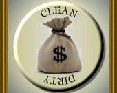 "MONEY BAG Dollars Cash Dishwasher Clean/Dirty 2.25"" large Round  Magnet"