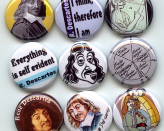 """Rene Descartes French Philosopher Mathematician 9 Pinback 1"""" Buttons Badges Pins"""