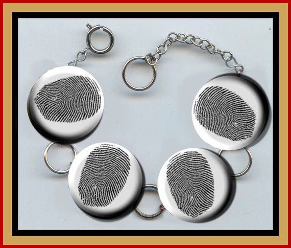 Finger print black and white Altered Art Button Charm Bracelet with Rhinestone