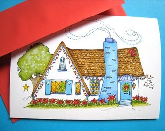 Christmas Cottage Card. Cozy Home Holiday Card