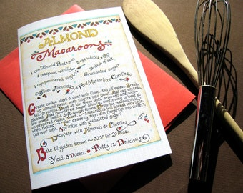Christmas Cookie Recipe Card - Holiday Cookies Card - Almond Macaroons Recipe