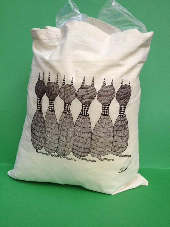 Tote bag-grocery bag- shopping bag -cat lovers bag- printed image from original hand drawing.