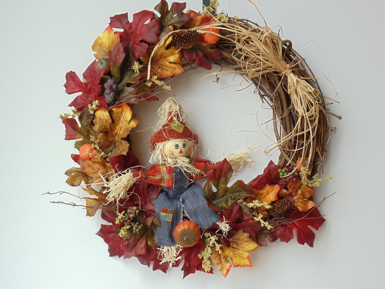 Fall scarecrow wreath fall door wreath autumn by natureswhimzy Fall autumn door wreaths