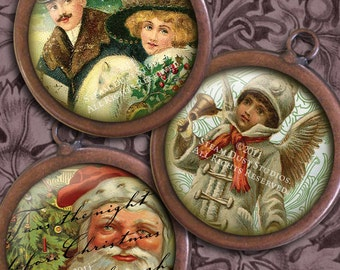 Victorian Old Fashioned Christmas - 32mm Circles - Digital Collage Sheet - Instant Download and Print