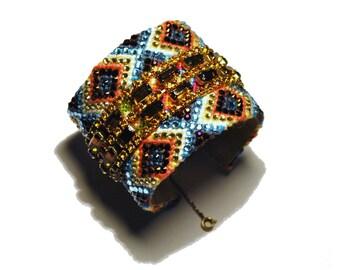 Wide Rhinestone Friendship Bracelet - Fall Glamour